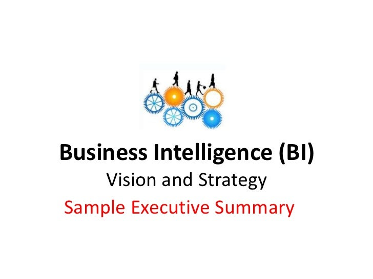 Sample business intelligence strategy executive summary wajeb