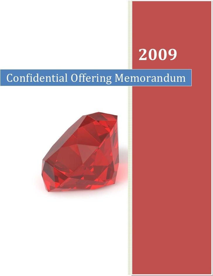 2009 Confidential Offering Memorandum