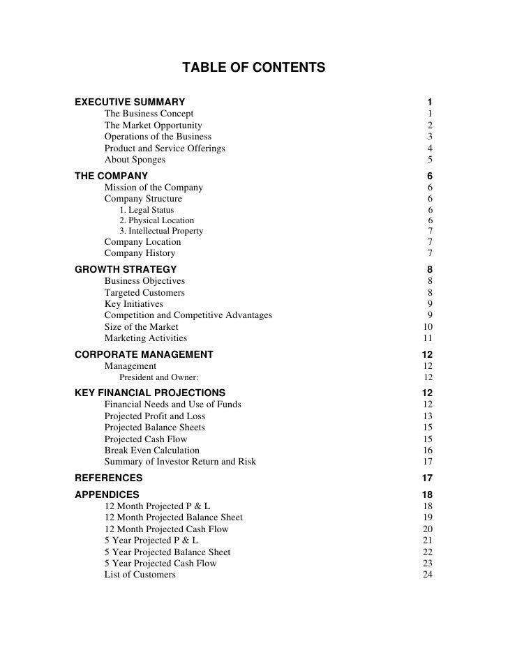 contents of an executive summary of a business plan