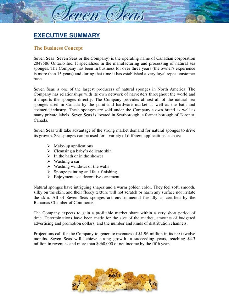 Sample Business Plan 2 – Business Executive Summary Template