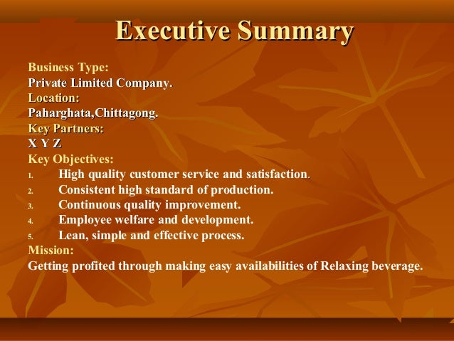sample business plan food beverage  2 executive summaryexecutive summary business