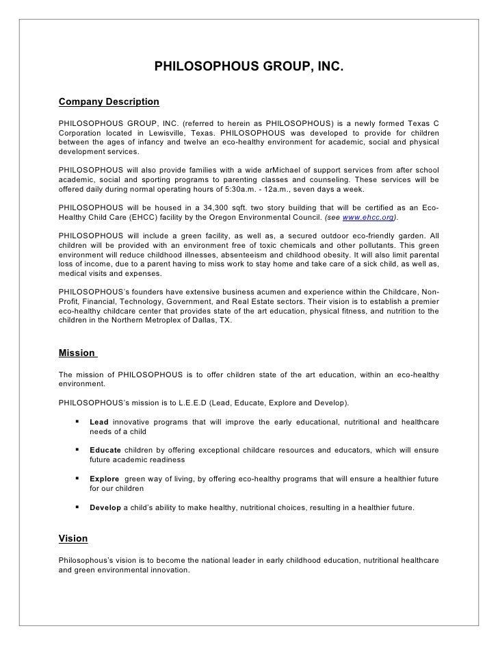 Company Description PHILOSOPHOUS GROUP, INC.