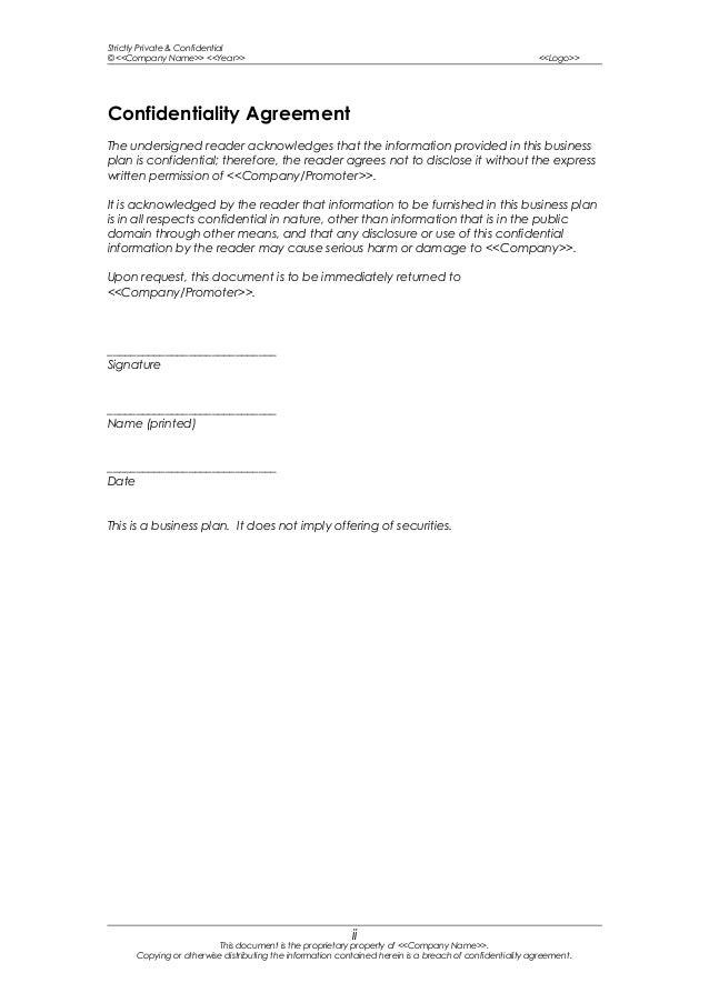 Sample business plan template