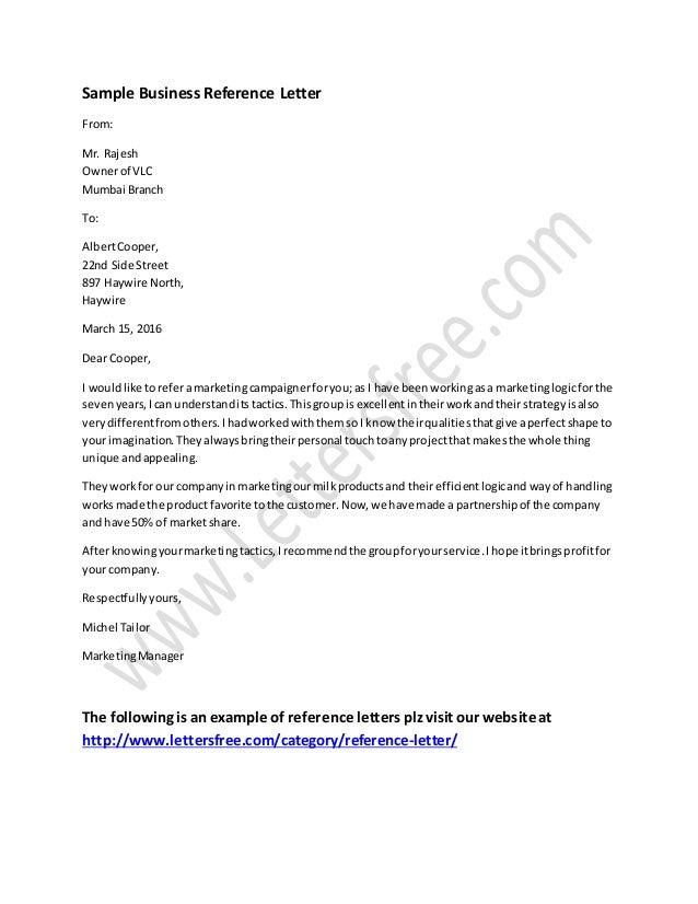 Business Reference Letter Example