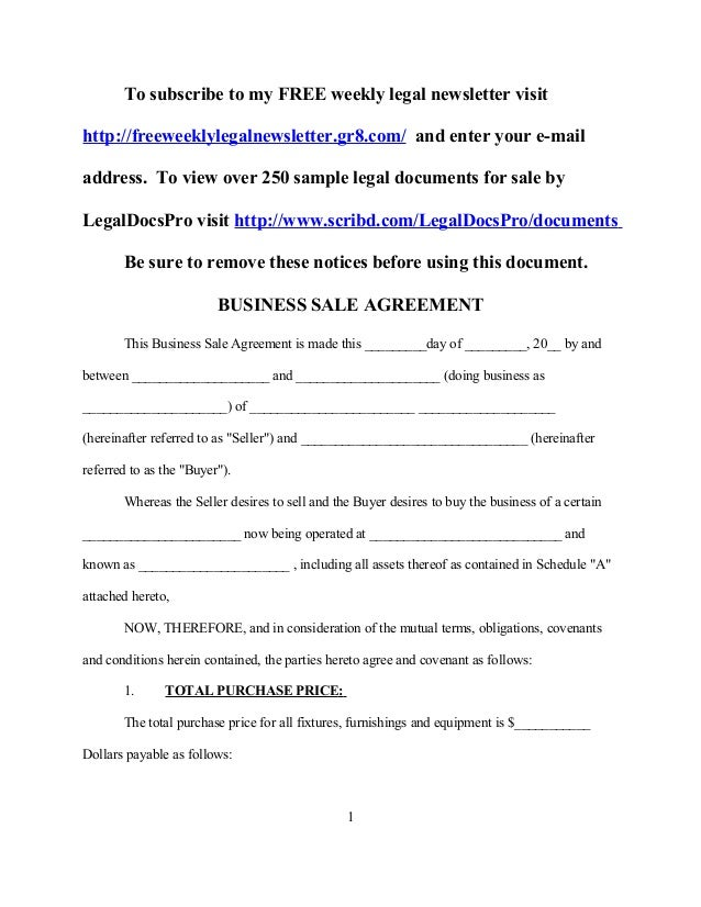 Sample business sale agreement for Selling a business contract template