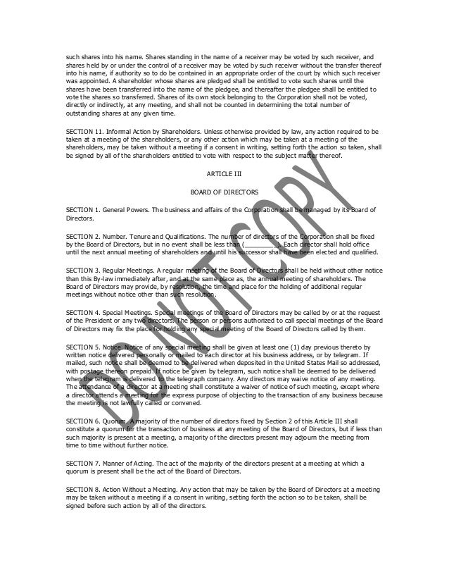 Sample bylaws