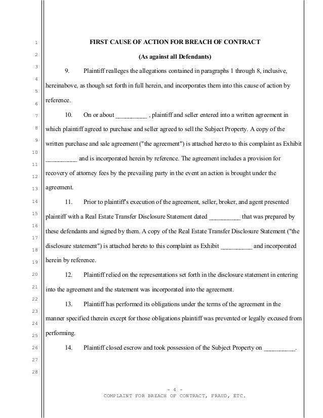Sample california complaint for real estate fraud against seller, bro…