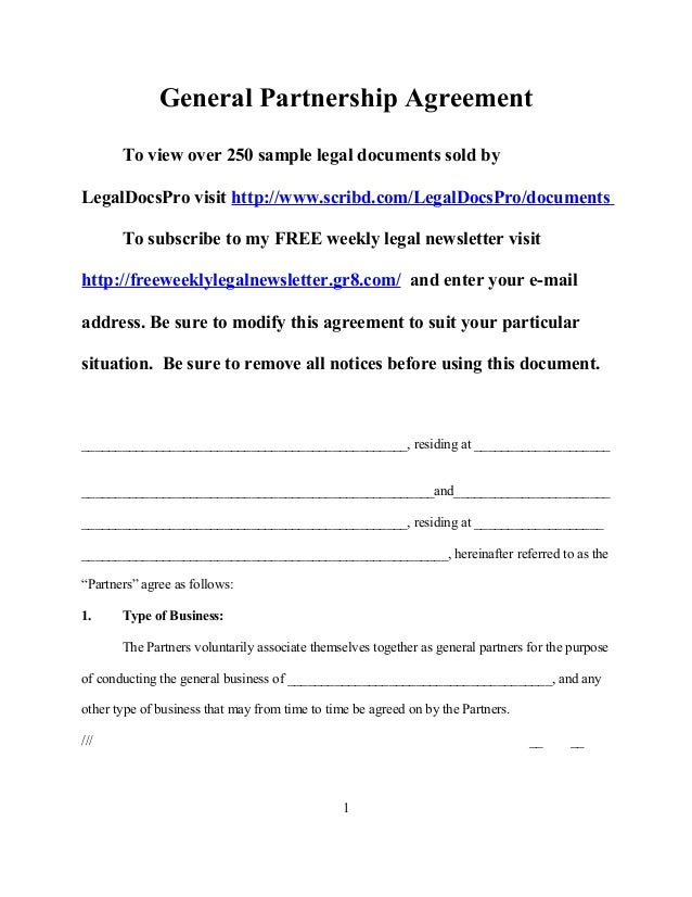 Sample General Partnership Agreement For California - Partnership legal documents