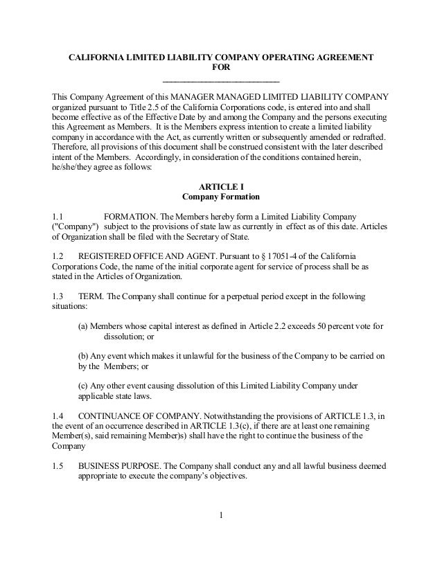 Business Operating Agreement | Sample California Limited Liability Company Operating Agreement