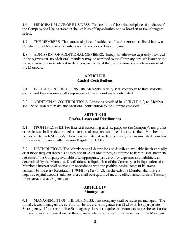 [Sample Limited Liability Pany Operating Agreement
