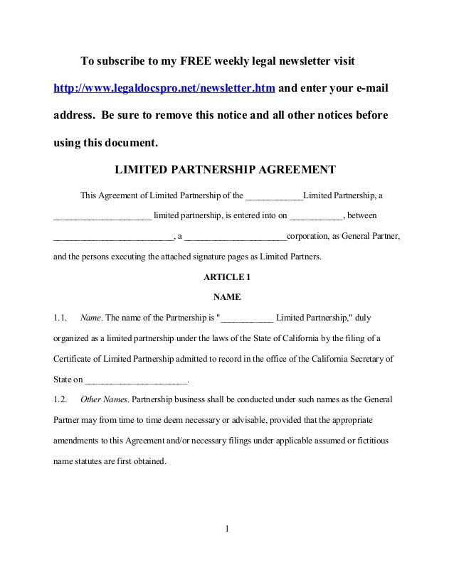 Sample California Limited Partnership Agreement