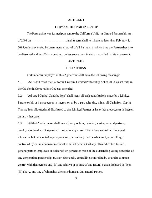 Partnership Agreement Template California  ContegriCom