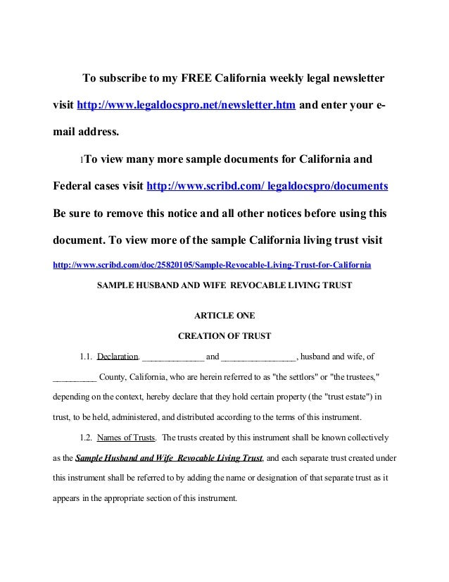 Sample California revocable living trust with spendthrift provision – Sample Living Trust Form