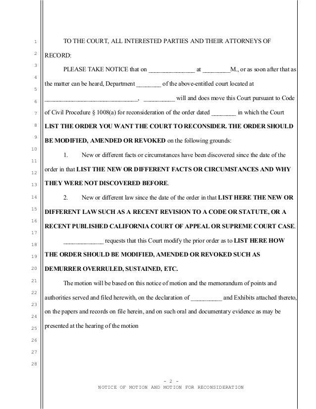 Sample California motion for reconsideration under Code of Civi Proce…