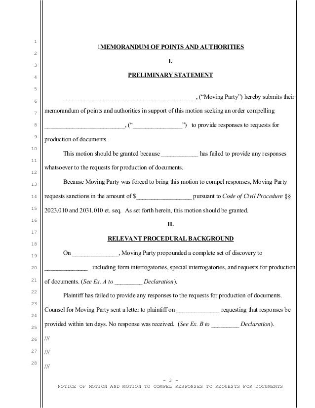 Sample California motion to compel responses to requests for producti…