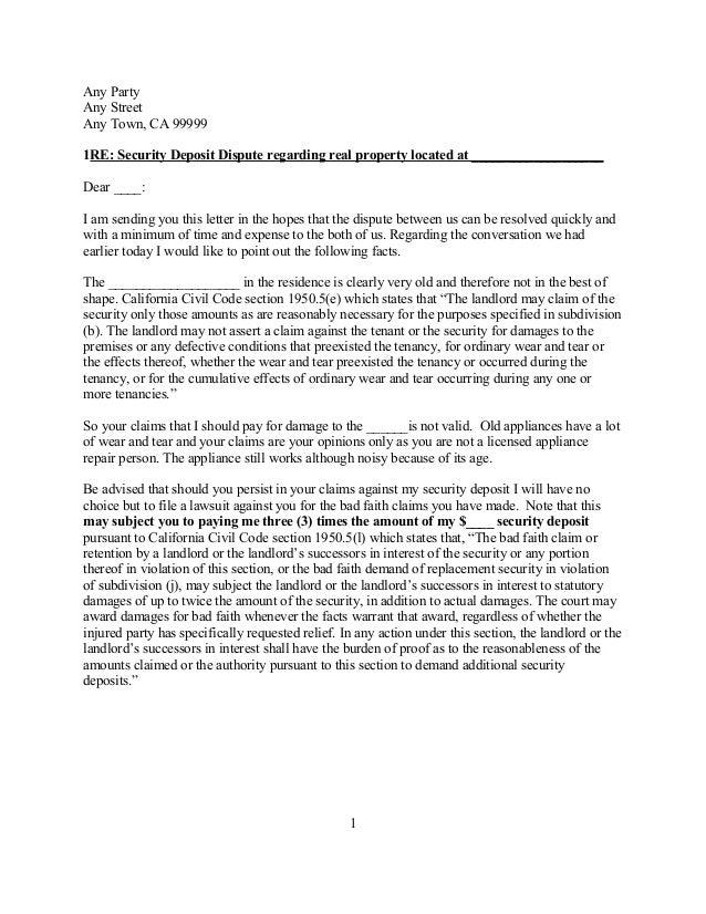Free Sample California Security Deposit Dispute Letter