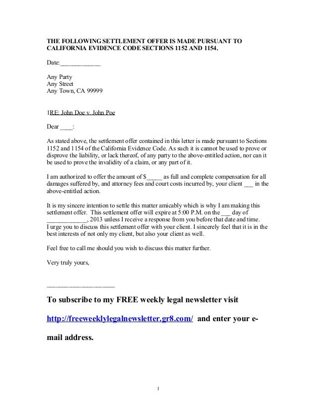 Settlement Offer Letter Sample