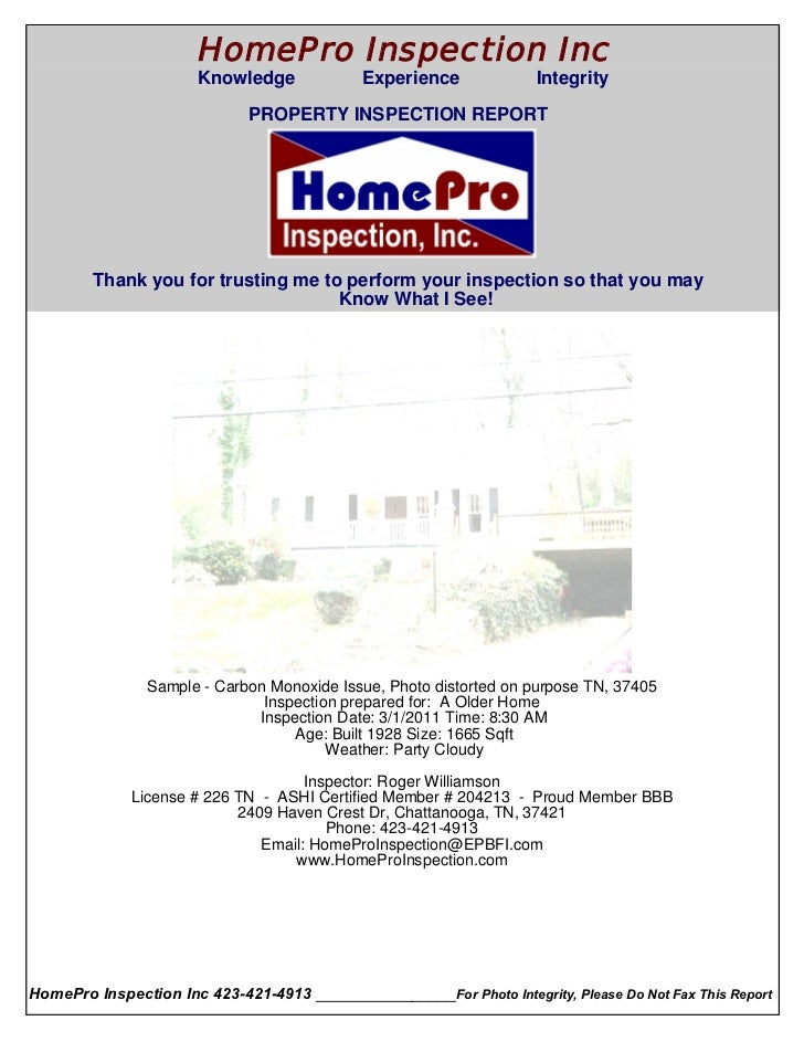 HomePro Inspection Inc                       Knowledge             Experience              Integrity  Cover Page          ...