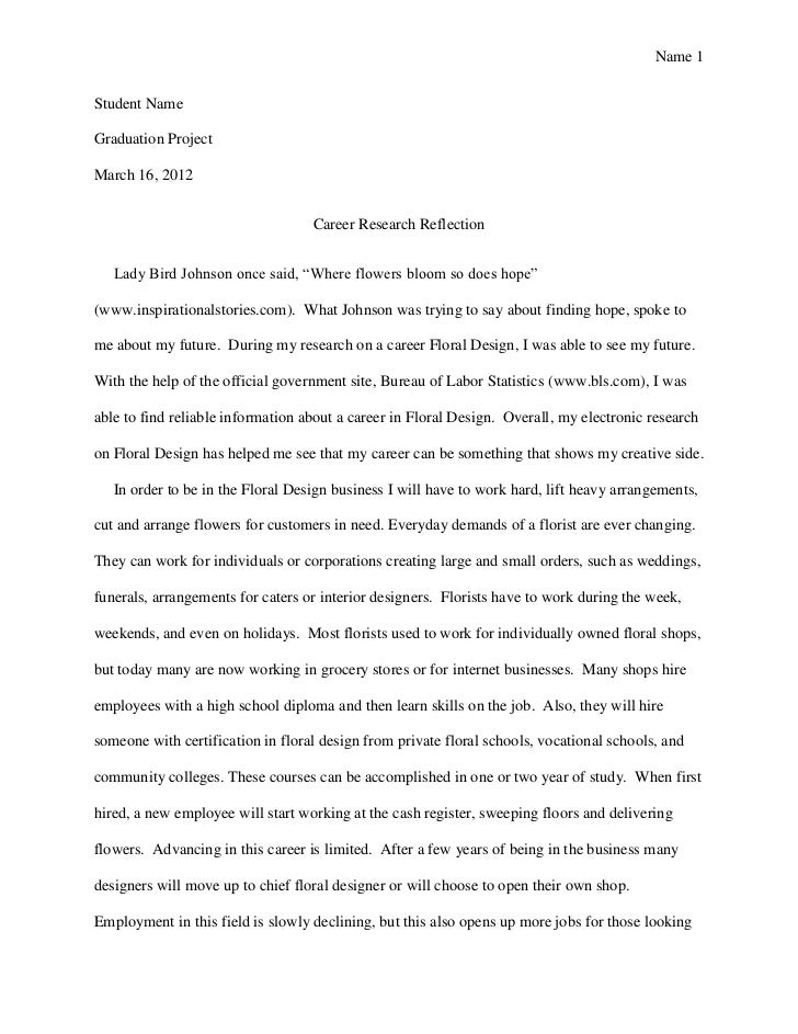 reflection essay on a class