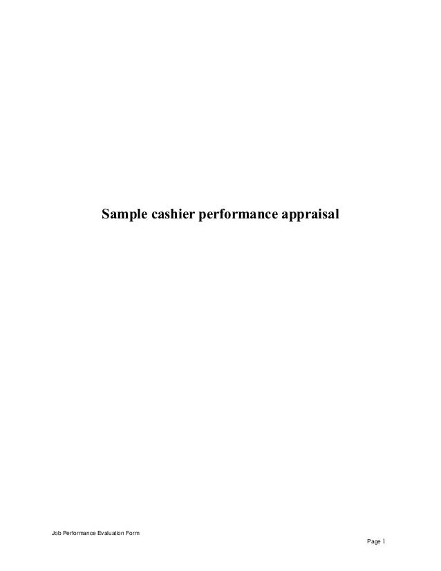 sample cashier performance appraisal job performance evaluation form page 1