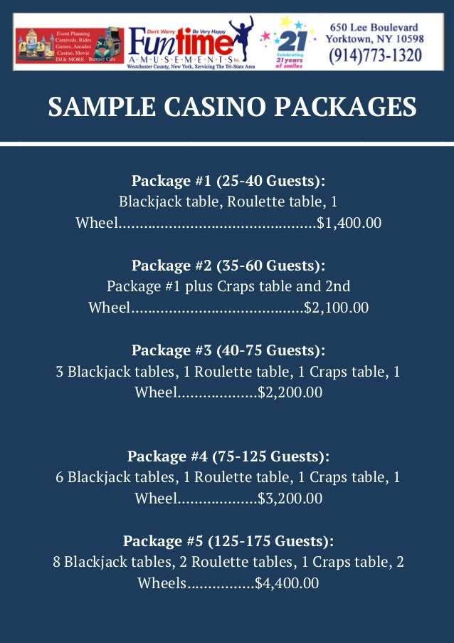 SAMPLE CASINO PACKAGES Package #1 (25-40 Guests): Blackjack table, Roulette table, 1 Wheel...................................