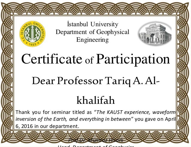 sample certificate of participation in seminar