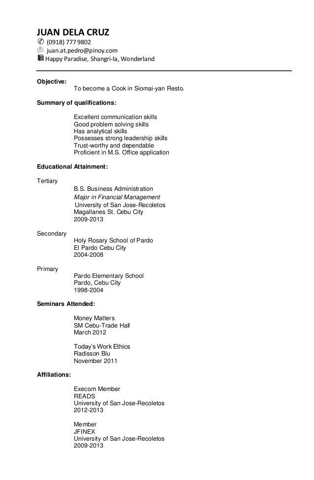Marketing Entry Level Sample Chronological Resume Reverse