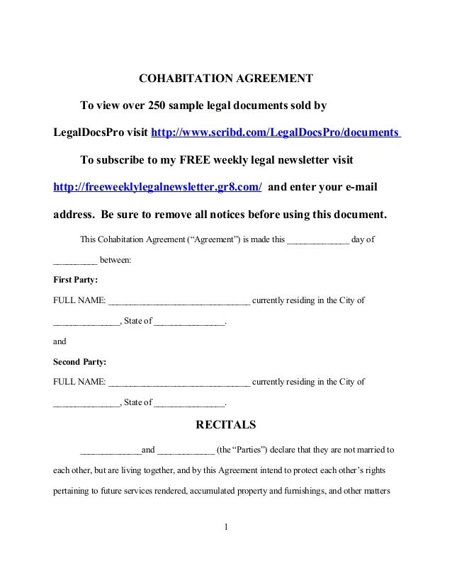 Sample Cohabitation Agreement
