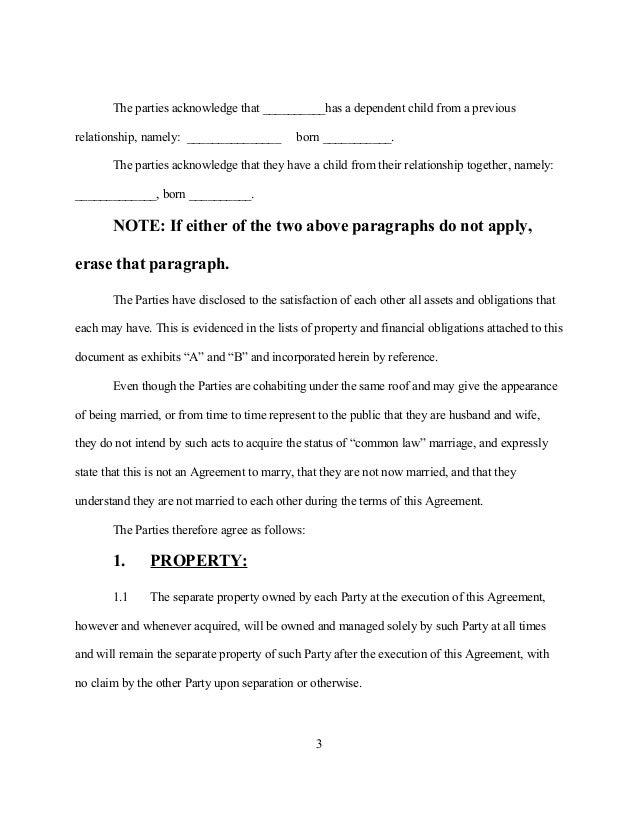 Sample cohabitation agreement