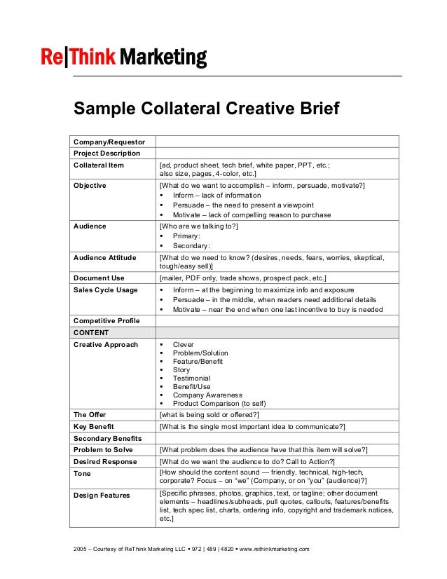 ogilvy creative brief template - sample collateral creative brief