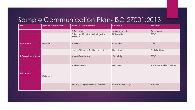 Sample Communication Plan | Sample Communication Plan Iso 27001