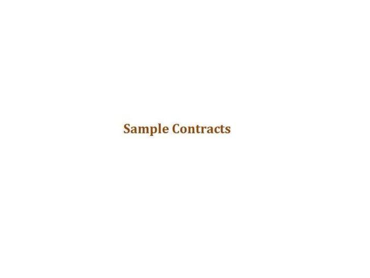 Sample Contracts