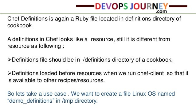 3. Chef Definitions ...