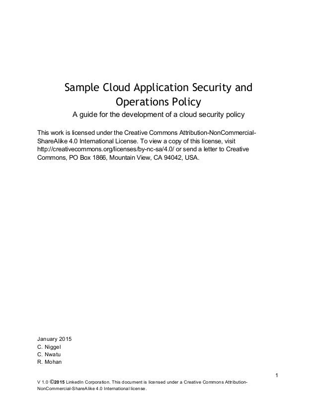 Sample Cloud Application Security And Operations Policy Release