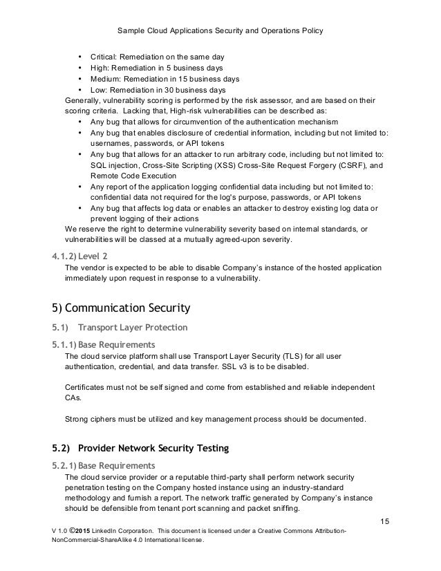 Sample Cloud Application Security and Operations Policy release – It Security Policy Template