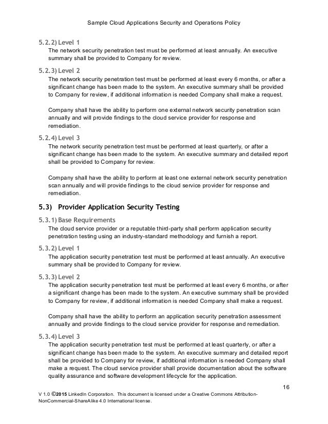 Sample Cloud Application Security and Operations Policy release – Sample Commercial Security Agreement Template