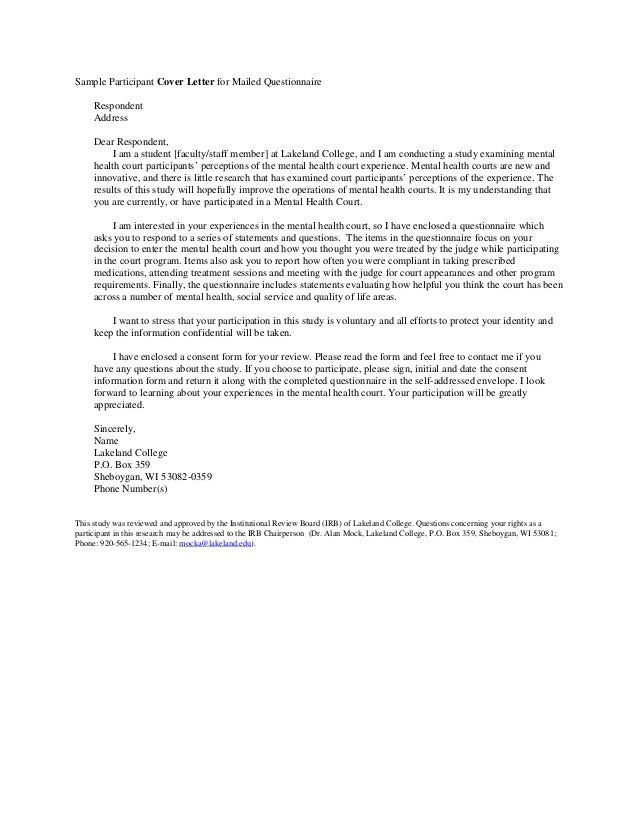 Sample Cover Letter And Informed Consent