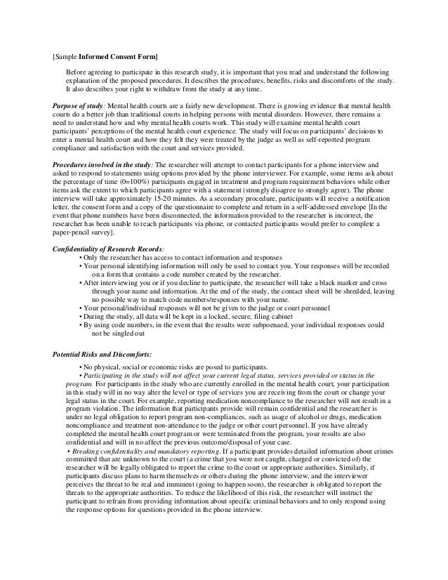 Sample cover letter and informed consent – Research Consent Form Template