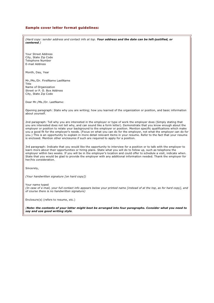 sample cover letter format guidelineshard copy sender address and contact info at