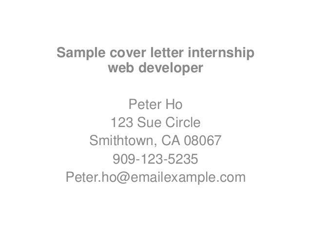 sample cover letter for an internship