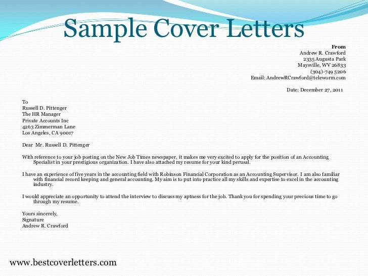 sample cover letters
