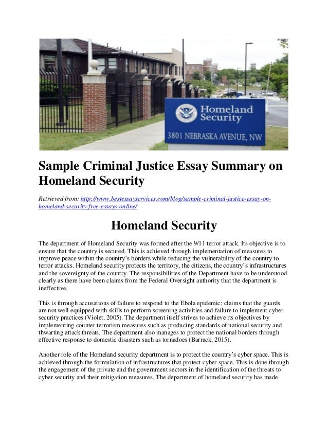 sample criminal justice essay on homeland security sample criminal justice essay summary on homeland security retrieved from