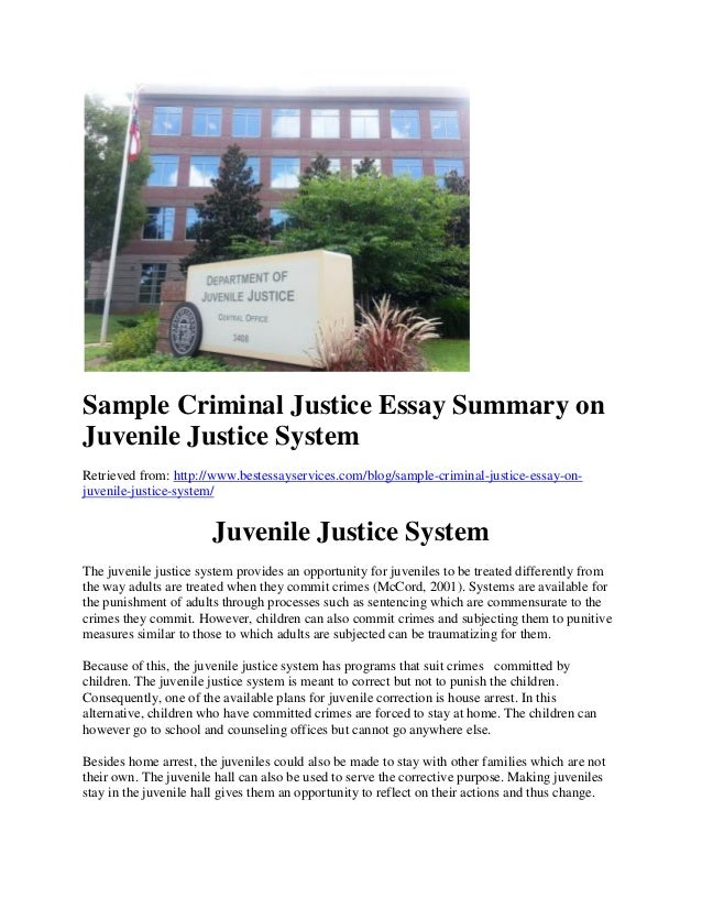 sample criminal justice essay on juvenile justice system sample criminal justice essay summary on juvenile justice system retrieved from