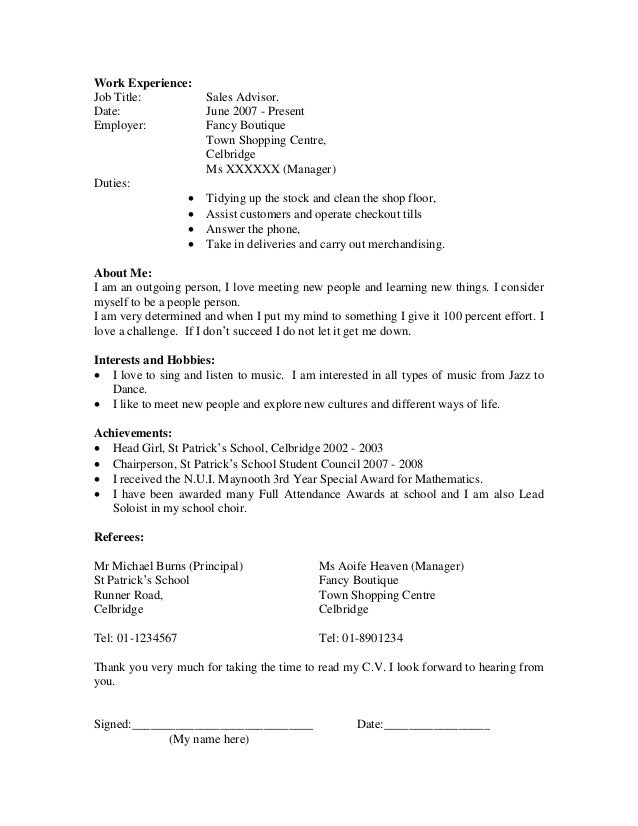 Cv School Maggilocustdesignco - Sample resume for high school leavers
