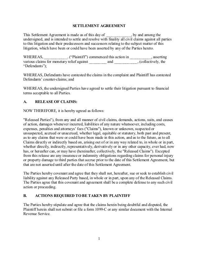 Sample agreement for debt settlement