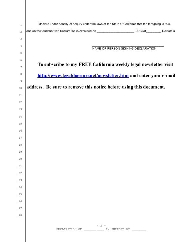 sample california declaration