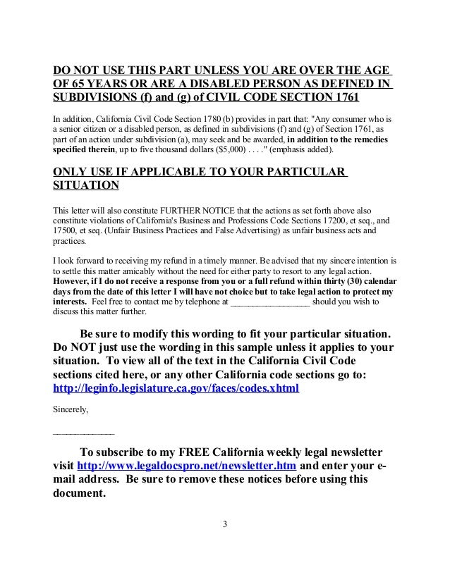 Free Sample Demand Letter Under Consumer Legal Remedies Act For Calif