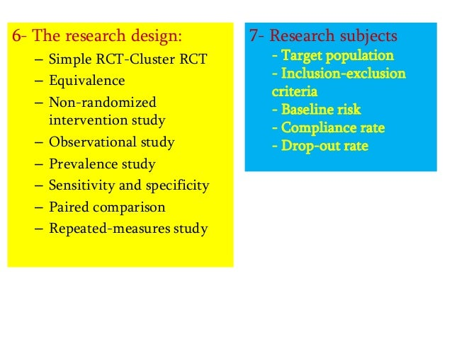 6- The research design: – Simple RCT-Cluster RCT – Equivalence – Non-randomized intervention study – Observational study –...