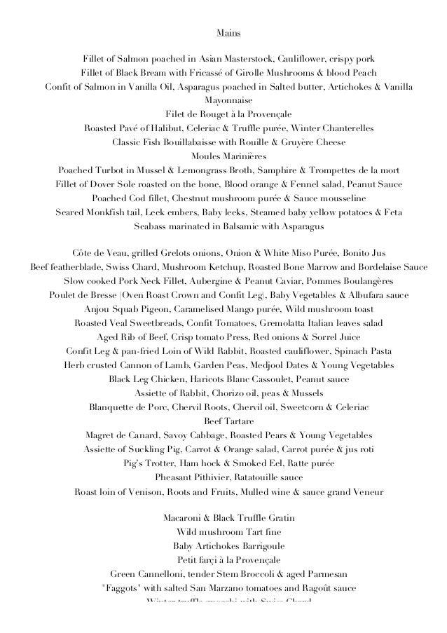 a dinner menu essay