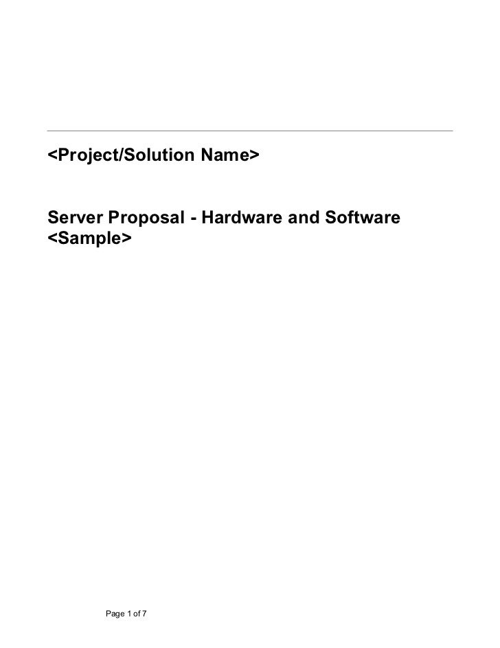 Sample Document On Hardware Software Proposal